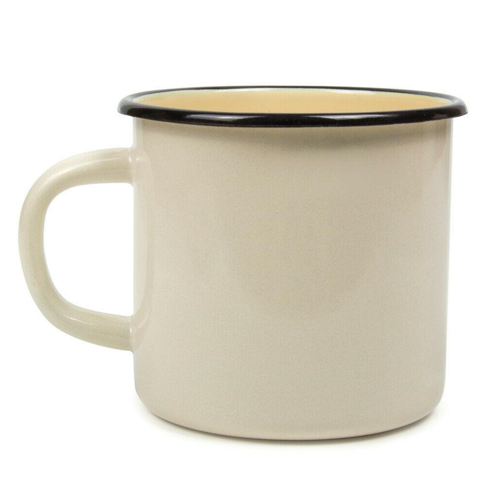 white enamel mug w print vintage style