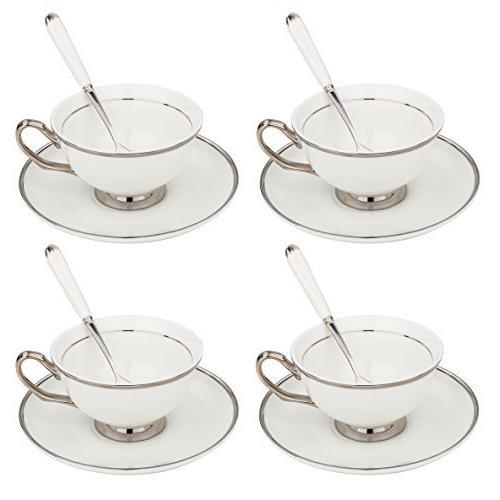 white silver rimmed tea coffee