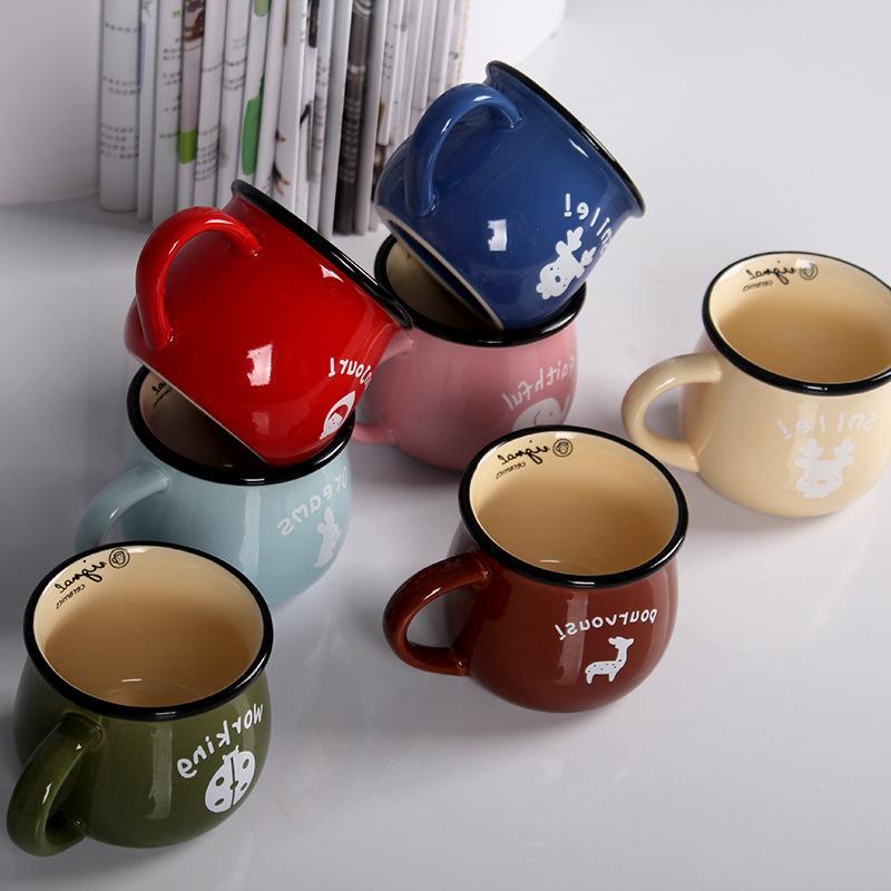 Zakka Ceramic and <font><b>Coffee</b></font> <font><b>Mug</b></font> Enamel Milk Tea Cups Simple Creative <font><b>Mugs</b></font> Gifts