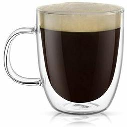 Large Clear Coffee Mug, Double Wall Insulated Glass With Han