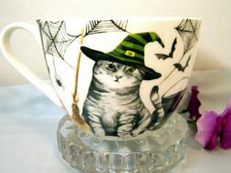 Large Halloween CREEPY CAT Coffee Mug, Portobello Bone China