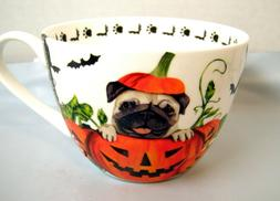 Large Halloween Pumpkin PUG DOG Coffee Mug, Portobello Fine