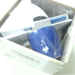 Bialetti Latte Espresso Coffee Porcelain Cups with Blue Acce