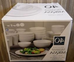 Mikasa Lausanne White 40 Piece Bone China Dinnerware Set