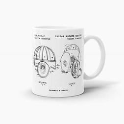 Leather Football Helmet Patent Coffee Mug; Sports Drinkware,