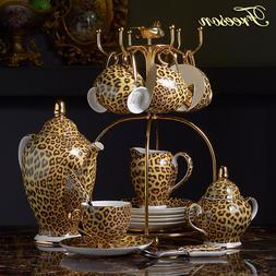 Leopard Print Bone China <font><b>Coffee</b></font> <font><b