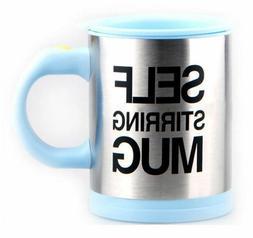 Light Blue Self Stirring Mug Coffee Cup Tea Auto Mixer Insul