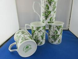 LILY CHINTZ SET of FOUR ENGLISH MADE FINE BONE CHINA MUGS AD