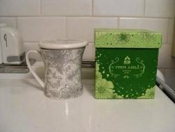 Teavana Linea Poppy Bone China Infuser Mug New in Box 10 oz