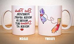Long Distance Mug - BFF Coffee Mug - Custom State Coffee Mug