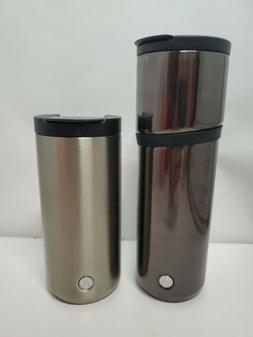 Lot of 2 Starbucks Black Tumbler Stainless Steel coffee mug