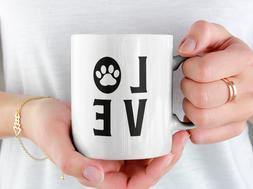 Love Paw Print Coffee Mug Him Her Mom Dad Men Women Home Fun