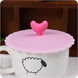 Love Shape Leakproof Silicone Coffee Mug Cup Lid Sealing Dus
