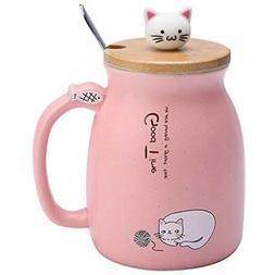 Lovely Coffee Cups & Mugs Cat Ceramic Water Milk Tea Sets Wi