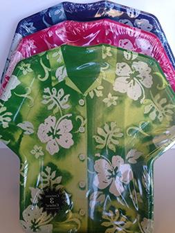 Bundle 3 Pack Hawaiian Luau Shirt Shaped Dinner Plates for P