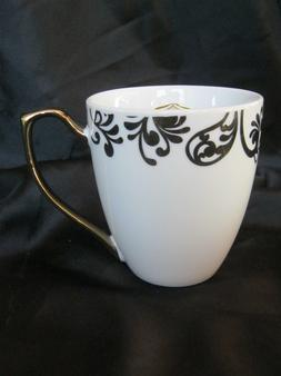 Ciroa Luxe Coffee Mug White with Gold Metallic Accent Porcel