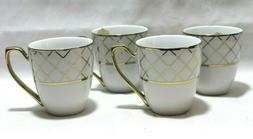 Ciroa Luxe Lattis Gold Metallic Accent Porcelain Coffee Mugs
