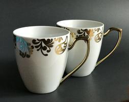 Ciroa Luxe Porcelain Coffee Mug Fiori Gold, 3 7/8 inches, Se