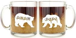 Mama Bear & Papa Bear Glass Coffee Mug Set …