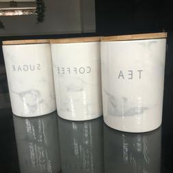 marble effect ceramic tea coffee sugar storage canisters set