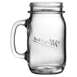 Anchor Hocking Mason Embossed Glass 16 Ounce Canning Jar Mug