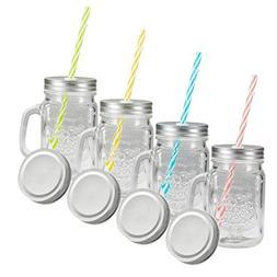 Tosnail 15 Oz. Mason Jar Mugs with Handle, Tin Lid and Plast