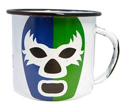 Mexican Wrestler Enamel Coffee Mug Green and Blue Enamel Pel