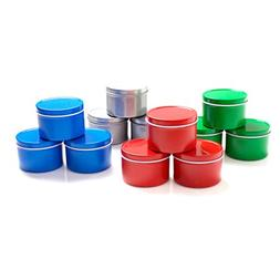 Mimi Pack 4 oz Round Tin Cans Deep Solid Top Lid Steel Conta