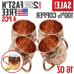 Moscow Mule Copper Mugs Cups Set of 4 Gift Drinking Barware