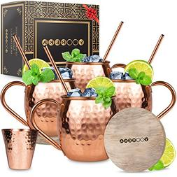 Moscow Mule Copper Mugs Set : 4 16 oz. Solid Genuine Copper