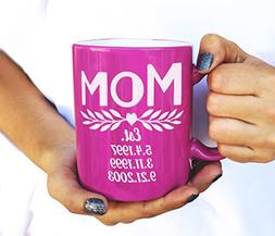 Mothers Day Personalized Coffee Mug for Best Mom Ever Mommy