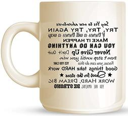 Motivational Quotes, Phrases, and Famous Sayings Ceramic Cof