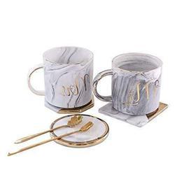 Mr and Mrs Couples Ceramic Coffee Mug Set Unique Wedding Gif