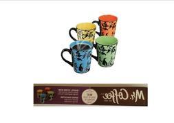 Mr. Coffee Brand 4 Piece Mug Set 14 oz Mugs Floral Design