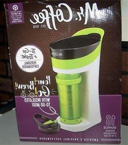 Mr Coffee Lime Green Pour Brew Go Single Brewer 16 oz Travel