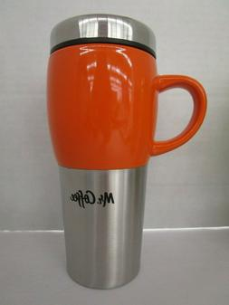 Mr. Coffee Traverse ORANGE 16oz Ceramic and Stainless Travel