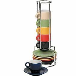 Mr. Espresso Basics 12pc Espresso Cup/Saucer Set W/Caddy by