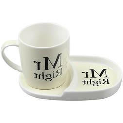 Mr Right Tea Coffee Cup Mug Coaster Plate Snack Breakfast Se