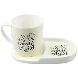 Mrs Always Right Tea Coffee Cup Mug Plate Snack Breakfast Se