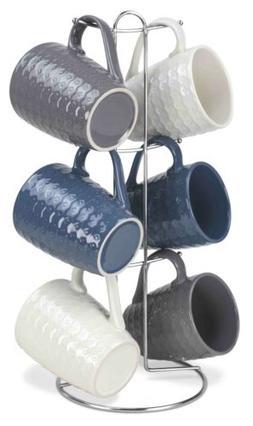 Home Basics 7 Piece Diamond Mug Set 6 11 oz Mugs and Mug Sta