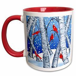 3dRose mug_236302_5 Digital Art Cardinal Birds Sitting in Bi