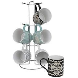 "Home Basics ""It's Coffee Time"" 6 Piece Mug Set With Stand, M"