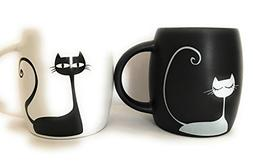 Mug sets of 2. Black and white cat couple cup. 12oz coffee a