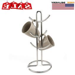 Mug Tree, 6 Coffee / Tea Cup Holder Hook, Storage Rack Stand
