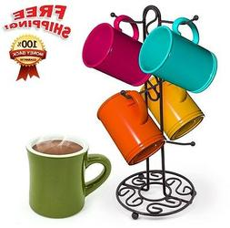 Mug Tree Holder 6 Cups Bronze Coffee Tea Cup Rack Storage St