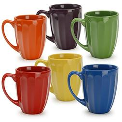 Mugs Set Assorted Multi Color Stoneware Kitchen Drink Coffee