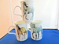 MY HORSE SET of  3 NEW FINE BONE CHINA mugs, Made In England