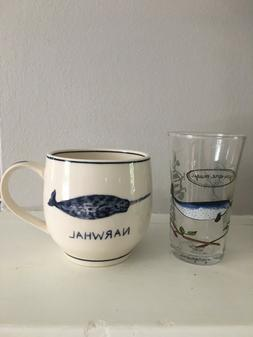 ANTHROPOLOGIE Narwhal Mug & Juice Glass Set Molly Hatch Icon