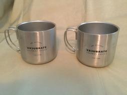 NEW 2 Starbucks Silver Stainless Steel Handle Coffee Mug - 1