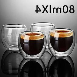 New Arrival 4Pcs 80ml Double Wall Insulated <font><b>Espress